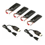 Hubsan H502E/H502S Battery Pack (4 X Batteries + 2 USB Chargers) #H502-21