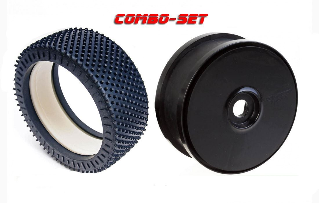 MCD Racing Soft (WS) Astro-Grip Tyre and Black Disc Wheel. 2pcs