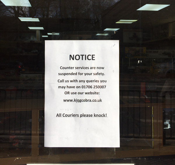 Counter Services Suspended
