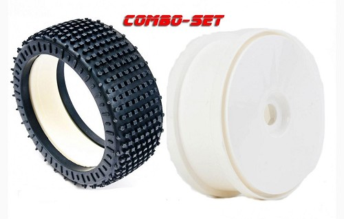 MCD Racing Medium (BM) Micro Stud V2 Tyre, Foam and White Disc Wheel. 2pcs