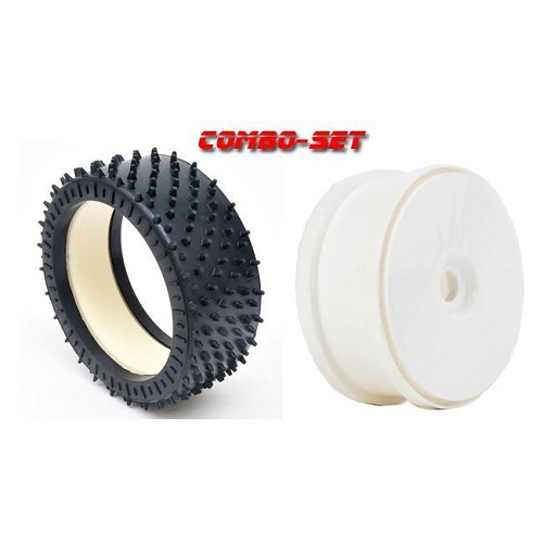 MCD Racing Hard (WH) Astro-Max Tyre, Foam and White Disc Wheel. 2pcs